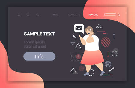 fat girl being bullied woman using smartphone online mobile chat application social media harassment trolling cyber bullying concept full length horizontal copy space vector illustration Stock Illustratie