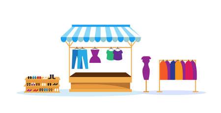 clothes shop stall fair concept outdoor market no people horizontal vector illustration