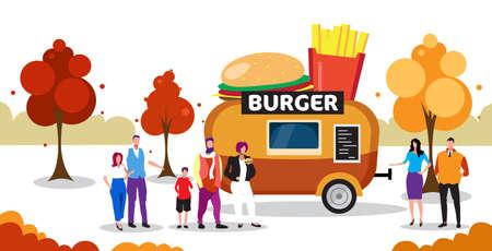 people standing in line queue burger trailer tasty eating street food concept outdoor fair horizontal full length vector illustration Ilustração