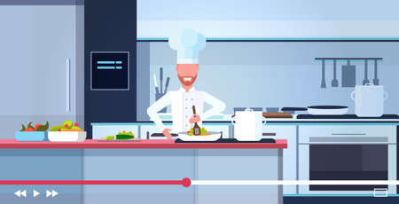 food blogger recording online video male chef in uniform cooking blogging concept man vlogger explaining how to cook a dish modern kitchen interior portrait horizontal vector illustration