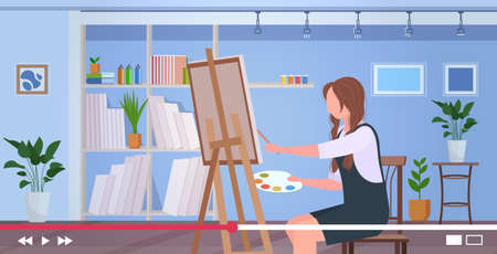 painter blogger recording online video woman using paintbrush and palette blogging concept vlogger painting on canvas in art studio horizontal vector illustration