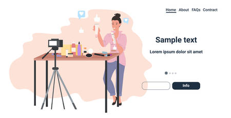 beauty blogger showing cosmetics products latest trend makeup tutorials woman recording online video live streaming social media blogging concept full length horizontal copy space vector illustration Archivio Fotografico - 137266050
