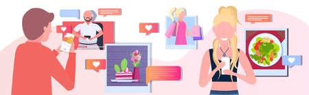 set bloggers using smartphone camera vloggers taking photos sharing stories social media network blogging live streaming concept horizontal vector illustration Illustration