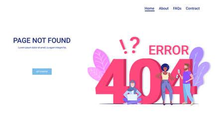 people using gadgets online app 404 page not found concept internet connection problem message website under construction horizontal copy space full length vector illustration Ilustração