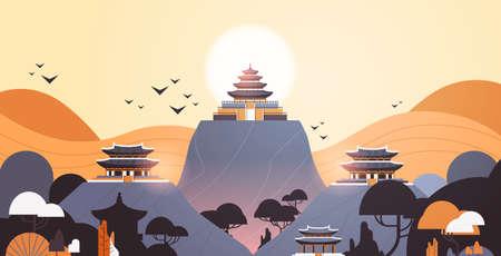 pagoda edificios en pabellones de estilo tradicional arquitectura paisaje asiático paisaje fondo horizontal ilustración vectorial Ilustración de vector