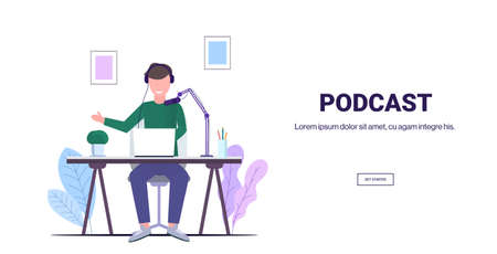 man recording podcast in studio podcasting broadcasting online radio concept guy speaker wearing headphones talking to microphone full length horizontal copy space vector illustration