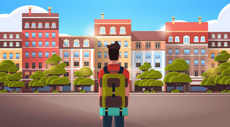 man traveler walking outdoor enjoying view of modern town buildings summer trip vacations concept rear view tourist with backpack sightseeing architecture city street horizontal portrait vector illustration