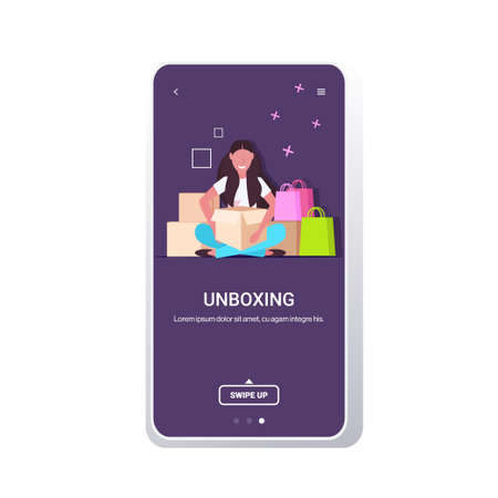 woman blogger opening parcel boxes recording unboxing video live streaming social media mail delivery shipment blogging concept full length smartphone screen mobile app copy space vector illustration Illustration