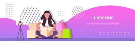 woman blogger opening parcel boxes recording unboxing video live streaming social media mail delivery shipment blogging concept full length horizontal copy space vector illustration
