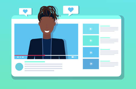 african american woman blogger streaming live heart shape likes notification from subscribers followers online video player social media network blogging concept portrait horizontal vector illustration Vector Illustratie