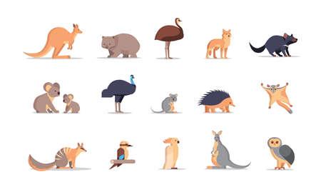 Définir le dessin animé en voie de disparition collection d'animaux sauvages australiens espèces de la faune concept de faune illustration vectorielle horizontale plate