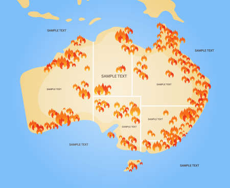 map of Australia with symbols of bushfires seasonal wildfires dry woods burning global warming natural disaster concept flat vector illustration