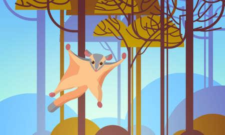 sugar glider flying in forest australian wild animal wildlife fauna concept landscape background horizontal vector illustration
