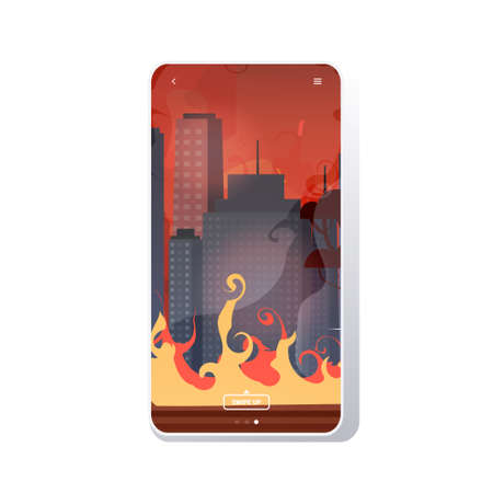 forest fires in australia wildfire city street with skyscrapers bushfire natural disaster concept intense orange flames cityscape background smartphone screen mobile app vector illustration