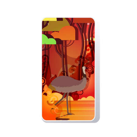 ostrich or emu running from forest fires in australia animals dying in wildfire bushfire burning trees natural disaster concept intense orange flames smartphone screen mobile app vector illustration