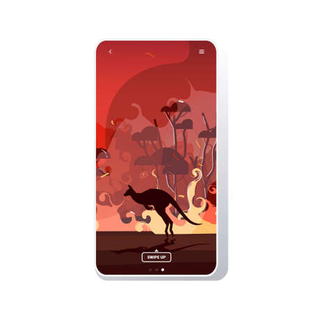 kangaroo running from forest fires in australia animals dying in wildfire bushfire burning trees natural disaster concept intense orange flames smartphone screen mobile app vector illustration Illustration