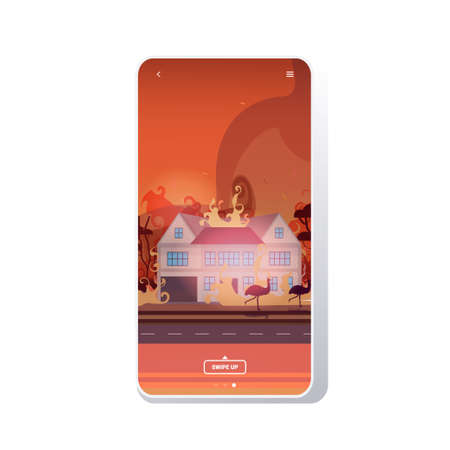 animals running from forest fires in australia wildfire burning houses natural disaster concept intense orange flames smartphone screen mobile app vector illustration Illustration