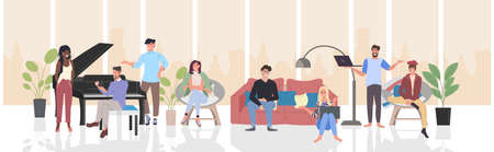 people discussing during meeting mix race men women using digital devices communication relaxation concept modern living room interior horizontal full length vector illustration Vettoriali