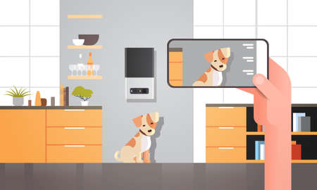hand using smartphone controlling automatic digital pet dry food storage ai meal feeder dispenser concept smart animal feed online mobile app modern living room interior horizontal vector illustration