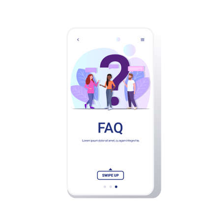 people group standing near question mark mix race team online support center frequently asked questions FAQ concept full length copy space smartphone screen mobile app vector illustration