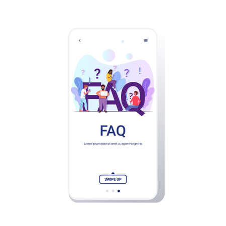 mix race people group with question exclamation marks using digital devices online support center frequently asked questions FAQ concept full length copy space smartphone screen mobile app vector illu  イラスト・ベクター素材