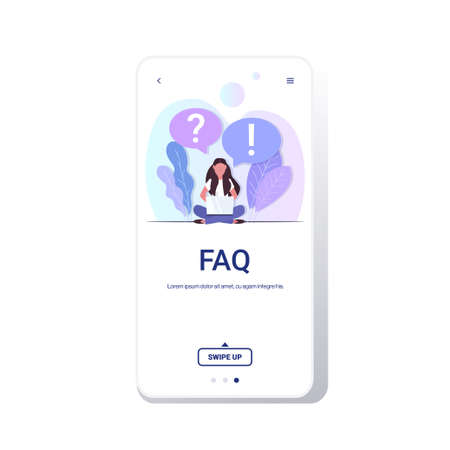 woman with question exclamation marks in chat bubble using laptop online support center frequently asked questions FAQ concept full length copy space smartphone screen mobile app vector illustration