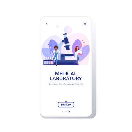 mix race doctors doing research chemical laboratory scientists making experiments holding test tubes with liquid women working with microscope in medical lab full length smartphone screen mobile app vector illustration Ilustrace