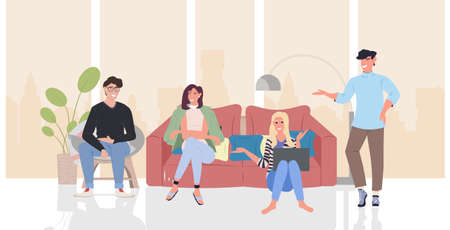 people discussing during meeting men women group using laptop communication relaxation concept modern living room interior horizontal full length vector illustration