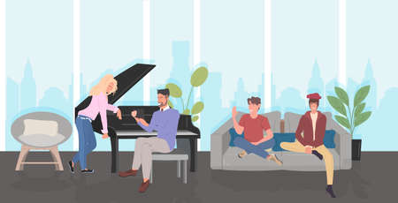 people discussing during meeting men women spending time together communication relaxation concept modern living room interior horizontal full length vector illustration
