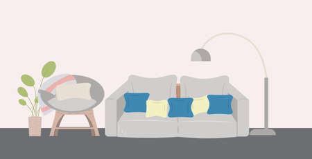 couch armchair lamp and houseplant modern living room interior horizontal vector illustration