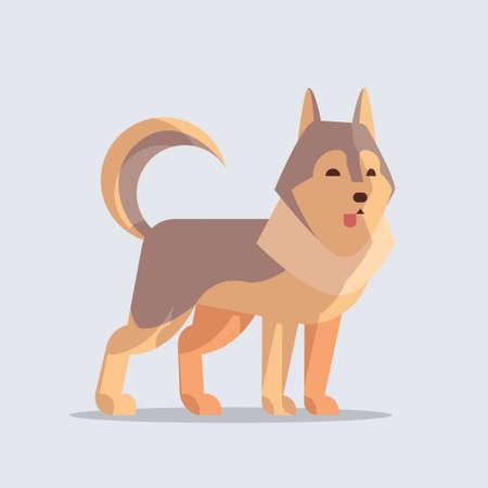 husky cute dog icon furry human friends home animals concept full length vector illustration Ilustração