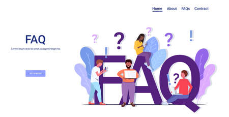 mix race people group with question exclamation marks using digital devices online support center frequently asked questions FAQ concept full length copy space horizontal vector illustration