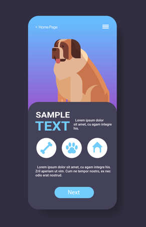 saint bernard icon cute dog furry human friend pet website or online shop cartoon animal smartphone screen mobile app copy space vertical vector illustration