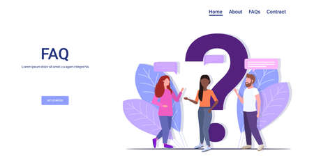 people group standing near question mark mix race team online support center frequently asked questions FAQ concept full length copy space horizontal vector illustration