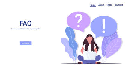 woman with question exclamation marks in chat bubble using laptop online support center frequently asked questions FAQ concept full length copy space horizontal vector illustration