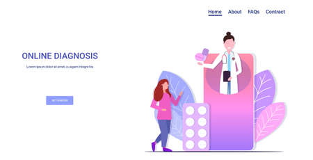 doctor giving medications pills to woman patient online medical consultation assistance by internet healthcare concept smartphone screen mobile app horizontal copy space vector illustration Ilustração