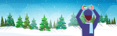 travel blogger using smartphone camera photographing snowy forest during hiking blogging live streaming wanderlust concept winter landscape background horizontal portrait vector illustration 일러스트