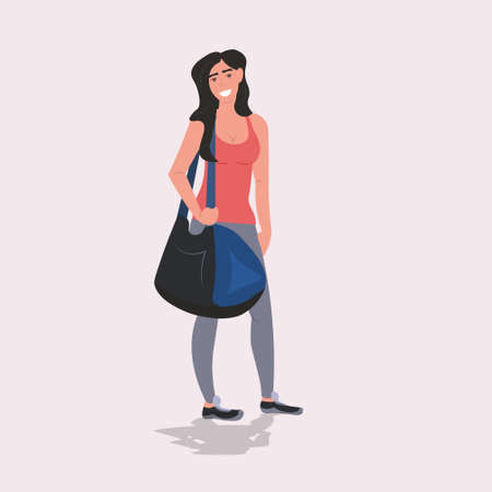 sportswoman holding sports bag healthy lifestyle workout concept girl in sportswear standing after training full length vector illustration Banque d'images - 138469129