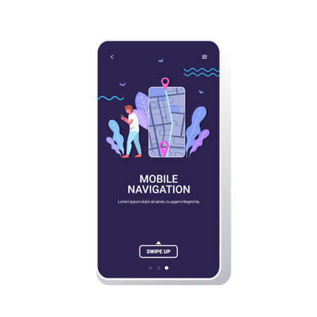 man using mobile navigation app to get direction to destination address in city street traveler exploring route location pin GPS pointers on smartphone screen full length copy space vector illustration Banque d'images - 138469130