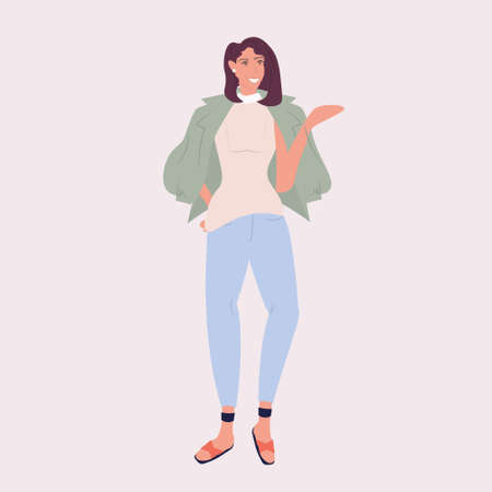 woman fashion blogger standing pose smiling stylish girl posing female cartoon character full length vector illustration Banque d'images - 138469141