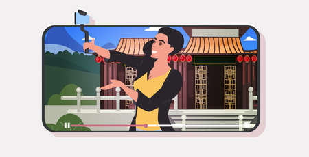 woman traveler using selfie stick photographing chinese pagoda in traditional style live streaming traveling blogging concept smartphone screen mobile app horizontal portrait vector illustration