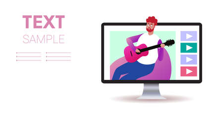 musical blogger playing guitar live streaming blogging concept guitarist sitting on beanbag monitor screen video player copy space portrait horizontal vector illustration Banque d'images - 138469173