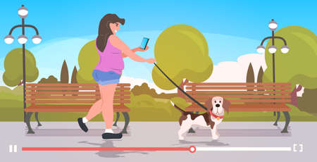 woman blogger walking with dog girl using smartphone recording video streaming live blogging concept urban park landscape background online player horizontal full length vector illustration