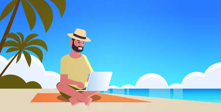man using laptop on tropical sea beach summer vacation online communication blogging concept seascape background full length horizontal vector illustration Banque d'images - 138469189