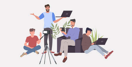 bloggers using digital devices social network communication blogging concept men group recording video with camera on tripod horizontal full length vector illustration Banque d'images - 138469197