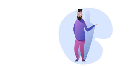 funny guy standing pose smiling man in casual clothes male cartoon character full length horizontal vector illustration Banque d'images - 138469200