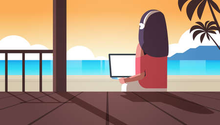 woman using laptop on tropical sea beach summer vacation online communication blogging concept rear view blogger sitting on wooden terrace seascape background horizontal vector illustration Banque d'images - 138469210