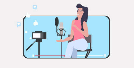 woman blogger recording music video vlog using digital camera on tripod podcasting broadcasting live streaming concept girl singing to microphone smartphone screen mobile app horizontal vector illustration Foto de archivo - 138469214