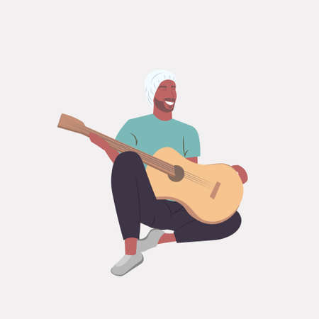 man playing guitar african american guitarist sitting on floor full length vector illustration Banque d'images - 138469219