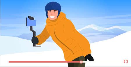 skier or snowboarder using selfie stick man recording video blog streaming live on smartphone camera blogging concept recreation activity in winter ski resort horizontal online player portrait vector illustration
